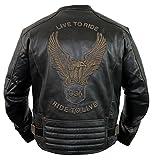 MDM Motorrad Lederjacke mit einer Adler Prägung (XL)
