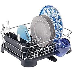 mDesign Support à Vaisselle en métal et Plastique - Panier égouttoir avec Bec verseur pivotant - egouttoir Design pour Un Plan de Travail Sec - argenté/Noir