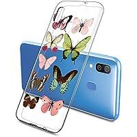 Suhctup Compatible con Samsung Galaxy Note 8 Funda de Transparente Silicona con Dibujos Mariposa Lindo Diseño Patrón Cárcasa Ultrafina Suave TPU Antigolpes Bumper Protección Caso-A2