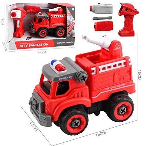 DHYBDZ Kinder spielzeugauto Puzzle DIY bohrmutter Montage 2,4g drahtlose Fernbedienung mit Sound Engineering Auto Spielzeug Set für Weihnachten Geburtstag Urlaub Geschenk,Firetruck