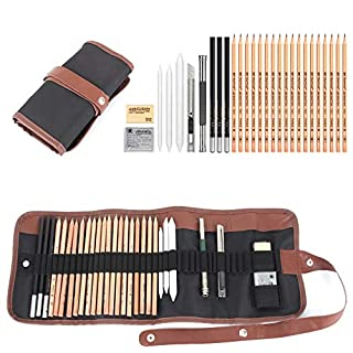 18pcs Sketching Pencil Set, Charcoal Pencil Eraser Knife Drawing Pencil Sketch Set with Canvas Pencil Bag Christmas Gift for Kid or Beginners Artist Student