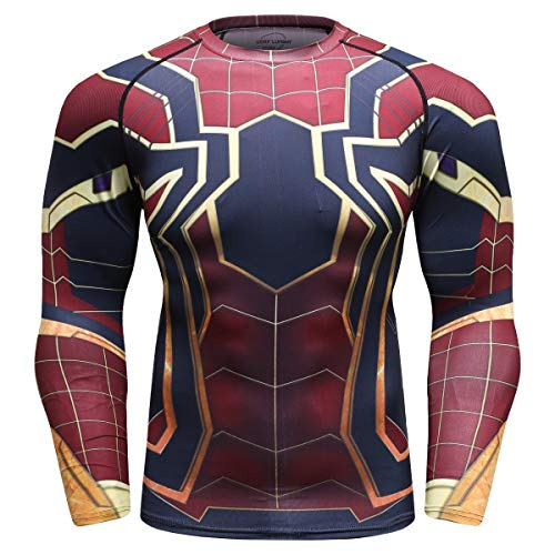 Cody Lundin Herren Tight Sport Fitness Long Sleeve 3D Printed Spider Compression Long Sleeve Top XXL Colour a - Tight-fit Compression Shirt