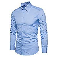 LOCALMODE Men's Long Sleeve Regular Fit Business Casual Shirts 100% Cotton Easy Care Plain Button Down Dress Shirts Light Blue XX-Large