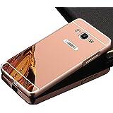 Vandot Duro Híbrido Carcasa para Samsung Galaxy Grand 2 G7106 Premium Bumper Case del Metal Aluminio + PC Ultrafina Espejo Protective Trasero Funda Cover - Oro Rosa