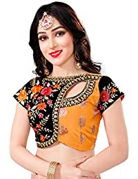 Fashioncraft's Embroidered Art Silk Brocade Readymade Stitched Blouse For Women