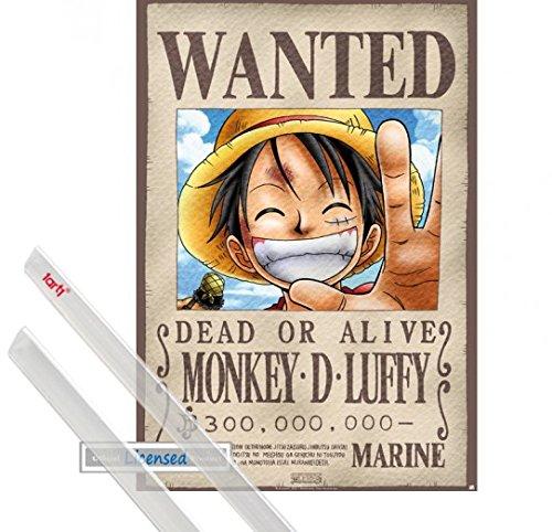 Poster + Hanger: One Piece Poster (98x68 cm) Wanted Monkey D. Luffy Inklusive Ein Paar 1art1 Posterleisten, Transparent