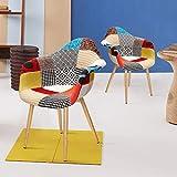 VADIM Stuhl Esszimmerstuhl Patchwork Wohnzimmerstühle Mehrfarbige Sessel mit Rückenlehne Leinen Stoff Holz Stil Metallbeine, 2 Stück, Bunt (Skandinavische bunt Sessel 2er Set)
