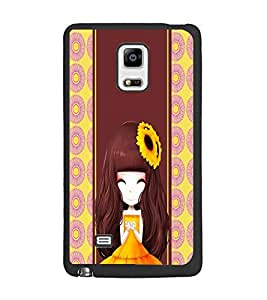 PrintDhaba Cute Girl D-4803 Back Case Cover for SAMSUNG GALAXY NOTE 4 (Multi-Coloured)