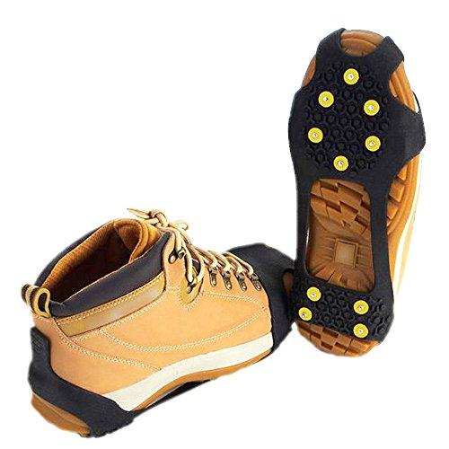 SOUMIT Universal Geringes Gewicht Anti-Slip Schwarzen TPE Winter Eis-Traktion Steigeisen mit Spikes, Geeignet für Im Freien Schnee Sport Wandern M (Universal Schuhe)