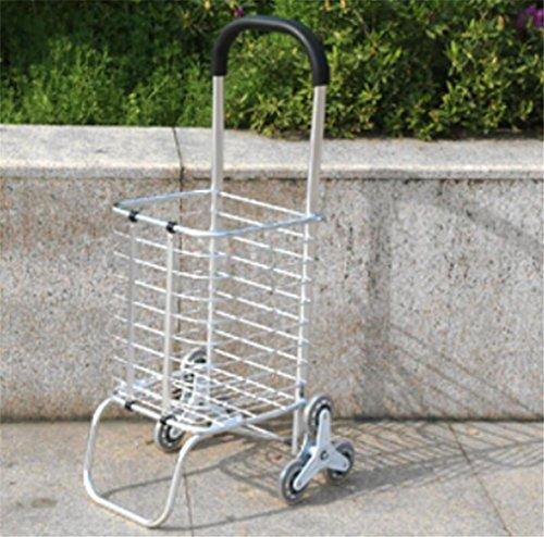FFJTS Warenkorb Aluminium Falten Portable Klettern Treppen Supermarkt Supermarkt Lebensmittelgeschäft Warenkorb , B (Große Lebensmittelgeschäft-tasche)