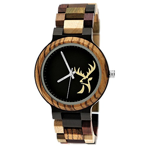 Handgefertigte Holzwerk Germany® Designer Herren Herren-Uhr Öko Hirsch Natur Holz-Uhr Armband-Uhr Analog Klassisch Quarz-Uhr mit Hirschmotiv Braun Schwarz -