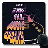 Tapis de souris Blues dessinés à la main guitare électrique citation mélodie pays Countrymusic emblème graphique Hardrock conception anti-dérapant tapis de souris tapis en caoutchouc tapis oblong...