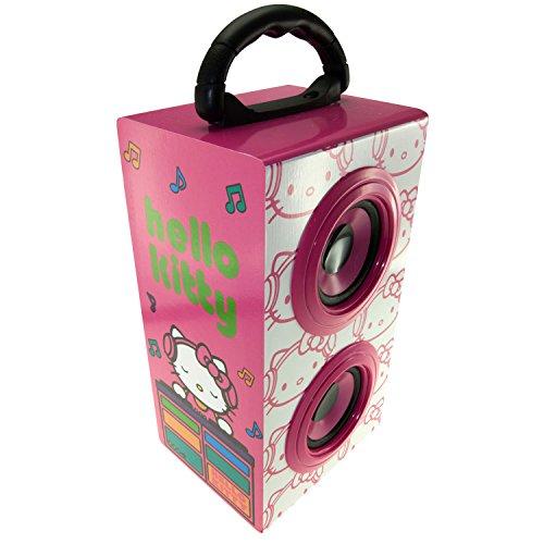 Hello Kitty DJ Altavoces portátiles altavoz recargable del partido con mango compatible con los teléfonos inteligentes, tabletas y reproductores de MP3 y mucho más con 3,5 mm de entrada de audio, incluyendo Samsung, Sony, Huawei, Apple, LG, HTC, Nokia. - Rosa