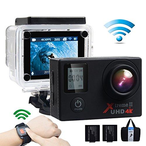 Campark ACT76 Action Cam 4K WIFI 16MP Ultra HD Sport Action Camera con Dual Screen Telecomando 170° Grandangolare due 1050mAh Batterie e Kit Accessori con Pacchetto Portatile