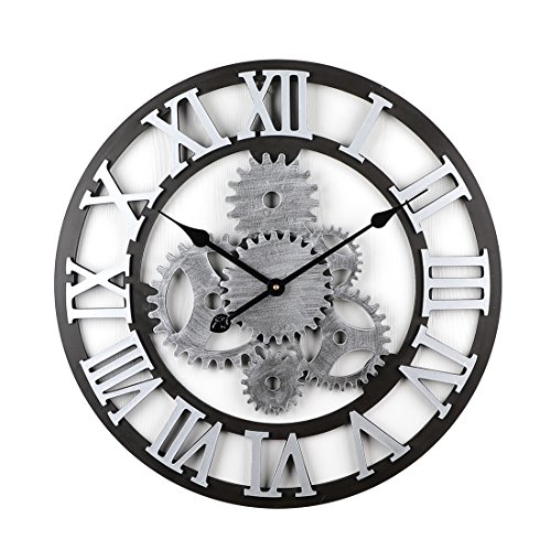 HYZH 58CM/22.8 Zoll Römische Zahlen Holz Lautlos Wanduhr Uhr Ohne Tickgeräusche Wanduhr Groß XXL (Stil 3)
