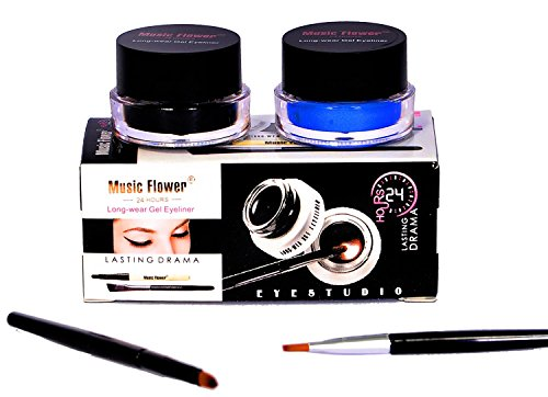 Music Flower Long Wear Gel Eyeliner Smudge Proof & Waterproof (Black And Blue) With 2 Expert Eyeliner Brushes