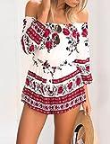 CRAVOG Sexy Damen Overall Sommer Blumendrucken Schulterfreies Jumpsuit Rot,,L