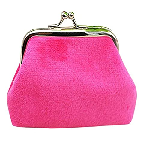 Omiky® Rectangle Corduroy Mini Wallet Card Holder Coin Hasp Purse Clutch Handbag (Hot Pink)