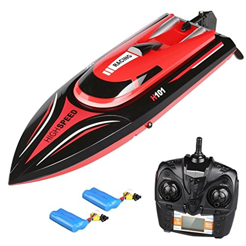 Km Rc-boot / H 30 (2.4GHz Hochgeschwindigkeits-RC-Boot, 26-30 KM / H, 2x 7.4V 1500mAh, 180 ° -Flip, Ferndistanz 164 Meter, Niederspannungsalarm, 390 starkes Magneto-Antriebssystem, wasserdichter Rumpf mit Kippschutz Modulares Design, Fernbedienung elektrisch Rennboot für Kinder und Erwachsene. (H101))