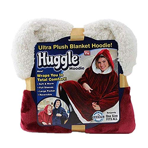 Huggle Hoodie, Ultra Plush Blanket Hoodie die Winter Soft Warm Reversible Hooded Robe for Men Women (One Size Fit All),Red -