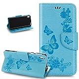 Sony Xperia E5Custodia,Sony Xperia E5Custodia,Sony Xperia E5Custodia di cuoio,rilievo farfalla fiori fiore viticcio m rto e scomparti per carte di credito Custodia Wallet Case per Sony Xperia E5-