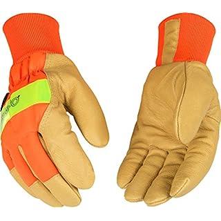 Kinco 1938KW-M-1 Grain pigskin, Hi-Vis orange, 3M Scotchlite reflective knuckle, Heatkeep thermal lining, Size: M