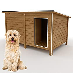 Happypet® Hundehütte DK150-2 wetterfest, isoliert mit Windfang aus Massivholz 150 x 95 x 95 cm