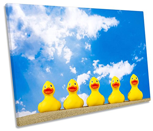 Gummi Enten Beach Badezimmer Single Leinwand Kunstdruck Bild, 120cm wide x 80cm high (Leinwand-gummi-ente)