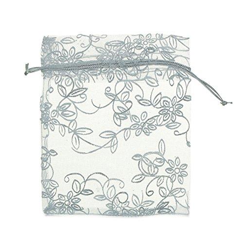 K-y 50pcs bianco steer coulisse sacchetti in organza con argento foglia fiore modello gioielli festa di nozze regali di natale favor bags 10x 12cm
