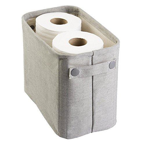 Mdesign, scatola in cotone per il bagno: per riviste, carta igienica, asciugamani. grande, colore grigio chiaro