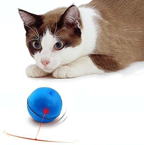 Lbsel Katze Interaktives Spielzeug,Katzenspielzeug Automatische Automatisches Rotierender Ball mit LED Flash Rolling für Puppy Kitten Cat Pet Fangen und Jagen Fun (Blue)