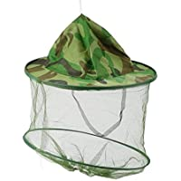 Erduo Sombrero de Camo de Gasa con Cuello elástico Mosquito Insecto Insectos Resistencia de la Abeja Sun Net Mesh Head Protector de la Cara Cap Hat Hombres Mujeres Pesca