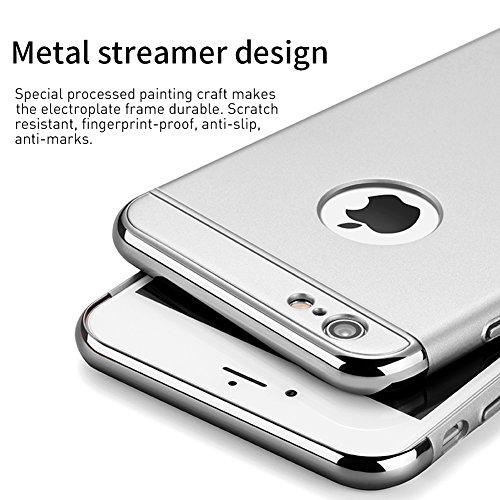 iPhone 6s Hülle, RANVOO Elektroplattierter Kappen mit einer Matter Oberfläche 3-Teilige Styliche Extra Dünne Harte Schutzhülle Case for iPhone 6 Silber,[CLIP ON] Silber