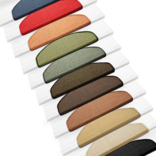 Sisal Stufenmatten im 15er Set | 100 % Naturfaser in 2 Größen | sicherer Halt auf Ihrer Treppe | halbrund 65x24 cm mit Lippe - nougat