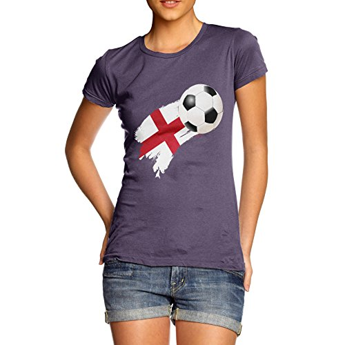 TWISTED ENVY England Football Flag Paint Splat Women's Funny 100% Cotton T-Shirt, Crew Neck, Comfortable and Soft Classic Tee with Unique Design