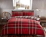 EDS - Juego de funda de edredón de franela, diseño de cuadros escoceses, 100 % algodón cepillado, Rojo, Doublé