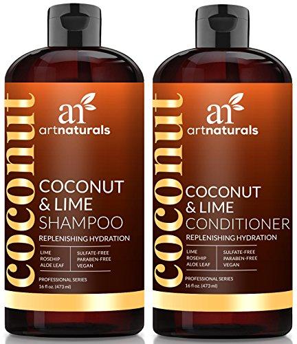 ArtNaturals Set Shampoing Après-Shampoing Noix de Coco et Citron Vert - (473 ml x 2) - Hydratation Reconstituante - Nourrit en Profondeur, Pour Tout Type de Cheveux - Noix de Coco, Aloe Vera et Cynorrhodon
