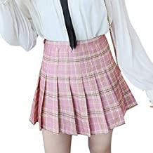 Yying Mujeres Sexy Mini Falda Plisada Cremallera Lateral Cintura Alta Niñas  Falda A Cuadros Corta Escuela 6d5a13bb7780