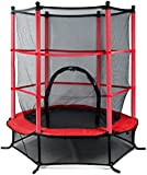 """Beyondfashion 55"""" 4.5FT Blue/Pink/Green Trampoline Junior Kids Outdoor Activity Fun With Safety Net (B-Red)"""