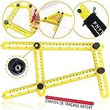 Règle multi angle jaune par Phytagore - Instrument de mesure d'angles (Outil Angle-izer) regle angle modèle multifonction de qualité professionnelle - Équerre à angle magique