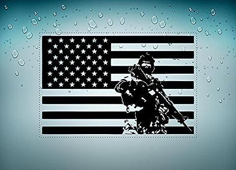 Autocollant sticker voiture moto drapeau usa americain armee militaire soldat D