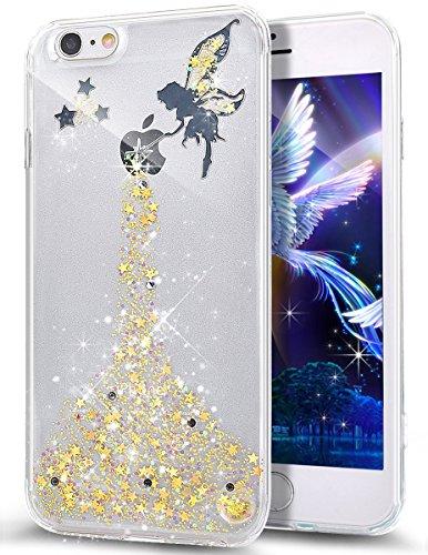 Ikasus Custodia protettiva bumper per iPhone SE e 5S, ultrasottile, in TPU e morbido silicone, serie con fiori di ciliegio realizzati a mano, dotata di pennino e di vetro temperato gratuito per proteg Angel:Yellow