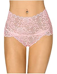 091a9add59 KISSLACE Women Sexy High Waisted French Knickers Lace Panties Brief  Stretchy Sheer Floral Underpants Underwear