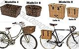 Cesto Cestino VIMINI + PIASTRA INCLUSA - Anteriore / Posteriore - Attacco portapacco / portacesto bicicletta City Bike - Classica - Vintage - Epoca Uomo / Donna (Modello 1)