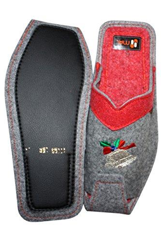 Weri Spezials Hommes Laine Pantoufles La Clochette Gris-Rouge Gris-Rouge
