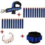 Bandolier Toy Gun Balas suaves Cinturón Correa de Hombro Clip Cargador Dardos Almacenamiento de Munición + Dardos de Muñeca Tactical Universal Almacenamiento para Nerf N-huelga Serie Elite + 20 piezas Dardos de Espuma Azul para Nerf N-huelga Serie Elite + Gafas de Protección