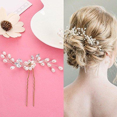 comprare on line Musuntas, fermaglio per capelli alla moda, vintage, elegante, con perle e strass, gioielli per il matrimonio, accessori da sposa, accessori per capelli, 2 pezzi prezzo