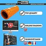 Fit Nation Faszienrolle – Foam Roller Set zur Selbstmassage mit Übungsbuch – Sport Massagerolle Für Anfänger, Profis, Damen & Herren – Orange - 2