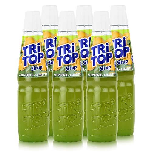 TRi TOP Getränkesirup Zitrone-Limette 6 x 600ml | Sirup für Wassersprudler | 1 Flasche ergibt ca. 5 Liter Erfrischungsgetränk