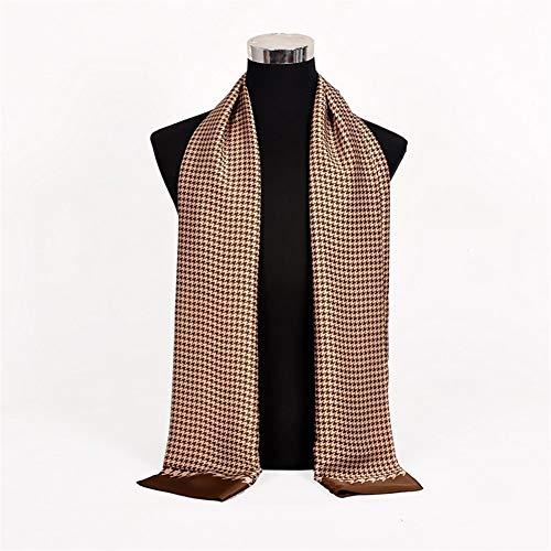 Yungye sciarpe da uomo autunno inverno moda uomo caldo blu scuro sciarpa di seta cravatta sciarpa di alta qualità 170 * 30 cm (color : khaki plaid, size : 170 * 30cm)